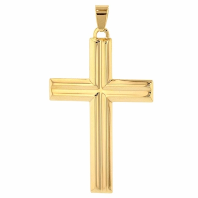 14K Yellow Gold Crucifix Large Cross Pendant