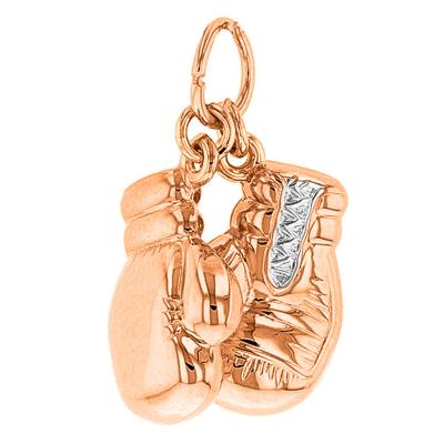 14k Rose Gold 3D Boxing Gloves Pendant