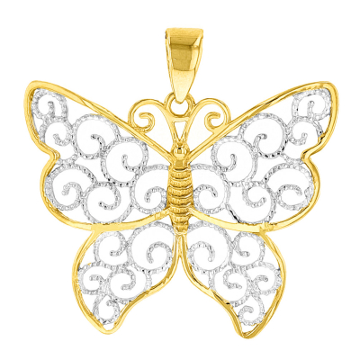14K Yellow Gold Two Tone Butterfly Pendant
