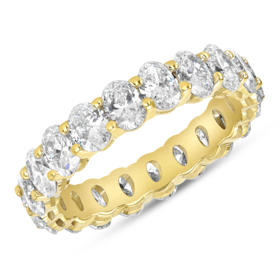 Oval Diamond Eternity Band Yellow Gold