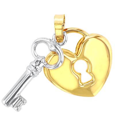 14K Yellow & White Gold Heart & Key Pendant