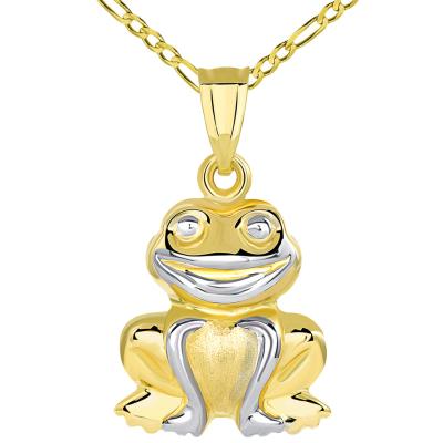 14K Yellow Gold Smiling Frog Pendant