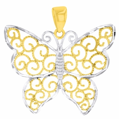 14k Yellow Gold Textured Butterfly Pendant