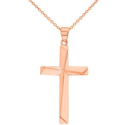 14K Rose Gold Elegant Religious Cross Pendant