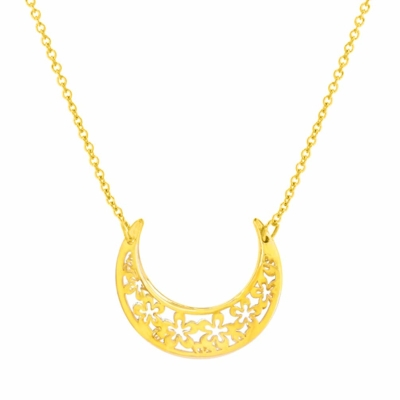 14K Yellow Gold Sideways Floral Crescent Moon Necklace |  14k gold crescent moon necklace