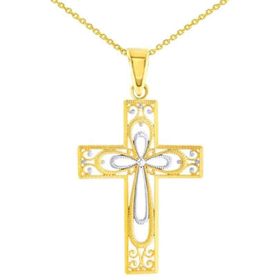 14K Yellow Gold Textured Filigree Cross Pendant