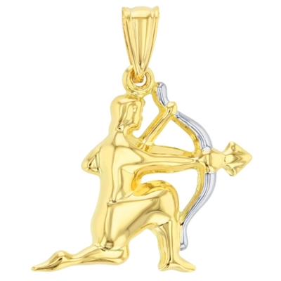 14K Yellow Gold Sagittarius Zodiac Pendant