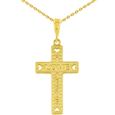14K Yellow Gold I Love Jesus Cross Pendant
