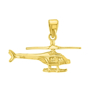 14K Yellow Gold Helicopter Pendant