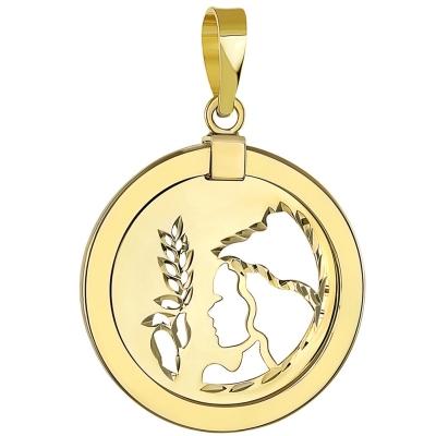 14K Yellow Gold Reversible Round Virgo Pendant