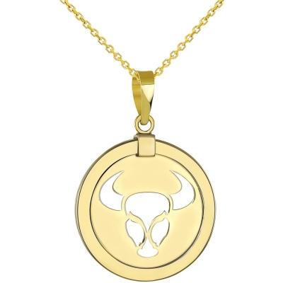 14K Yellow Gold Reversible Taurus Pendant