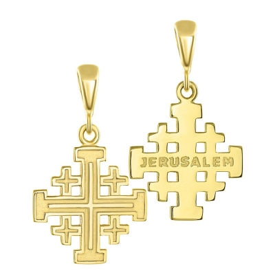 Yellow gold crusaders jerusalem cross pendant necklace