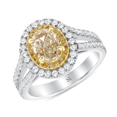 Two Tone Oval Diamond Engagement Ring | Sabrina A Inc