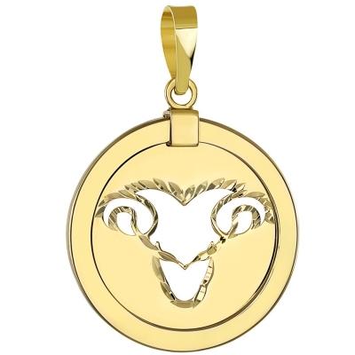 14K Yellow Gold Reversible Aries Zodiac Pendant