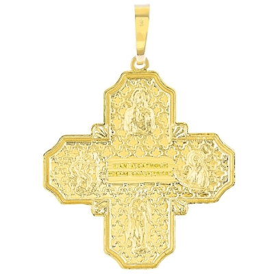 14K Yellow Gold Four Way Cross Pendant