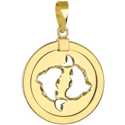 14K Yellow Gold Reversible Pisces Zodiac Pendant