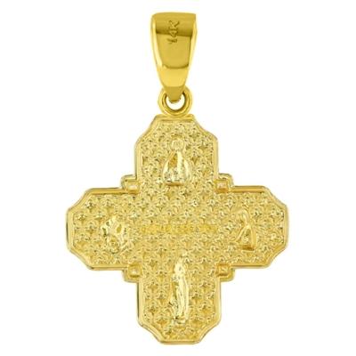 14K Yellow Gold Dainty Four Way Cross Pendant