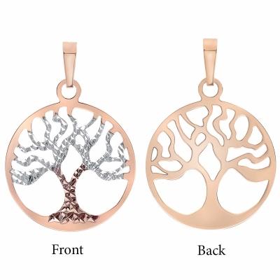 14K Rose Gold Reversible Tree of Life Pendant