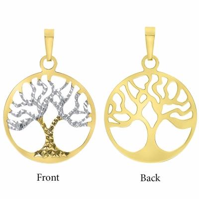 14K Yellow Gold Reversible Tree of Life Pendant