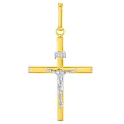 14K Two-Tone Gold Slender Cross INRI Pendant