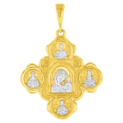 14K Yellow Gold Mary with Jesus & Saints Pendant