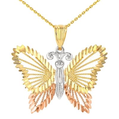 14K Tri-Color Gold Milgrain Butterfly Pendant