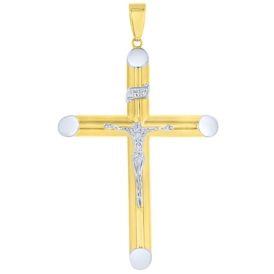 14K Two-Tone Gold Large Cross INRI Pendant