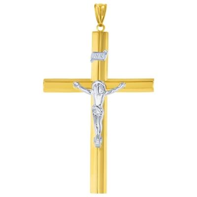 14K Yellow & White Gold Largetube Crucifix Pendant