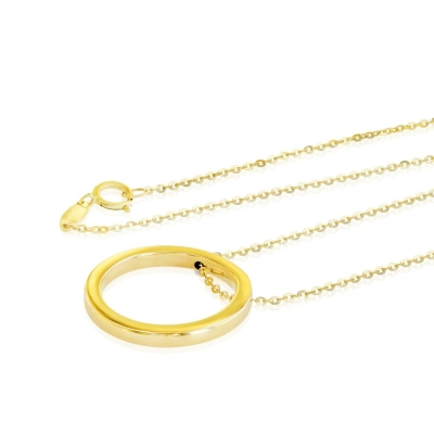 14K Yellow Gold Simple Circle of Life Necklace