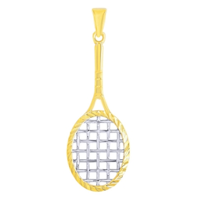 14K Yellow Gold Textured Tennis Racquet Pendant