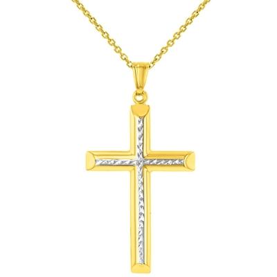 14K Yellow Gold Textured Cross Pendant
