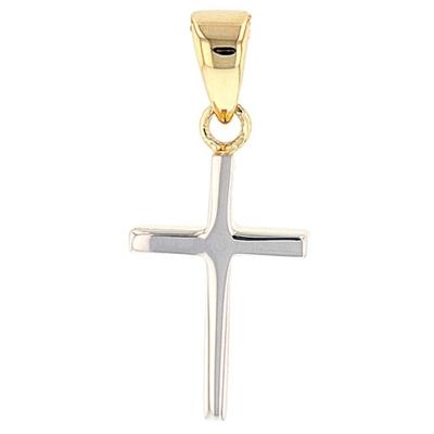 14k Gold Reversible Dainty Slender Cross Pendant