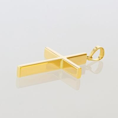 14K Yellow Gold Plain Slender Cross Pendant