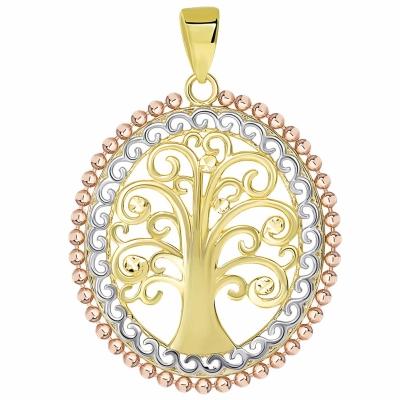 14K Yellow Gold & Rose Gold Tree of Life Pendant