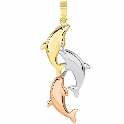 14k Tri Color Gold 3D Dangling Dolphins Pendant