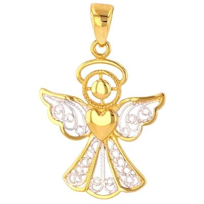 14K Gold Filigree Angel with Heart Pendant