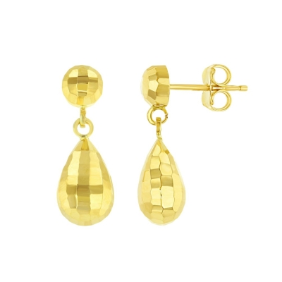 14k Yellow Gold Hammered Teardrop Dangle Earring