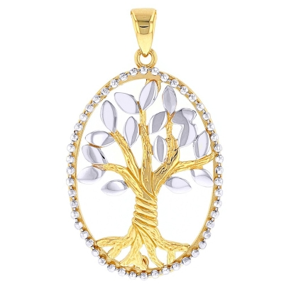14K Two-Tone Gold Oval Tree of Life Pendant
