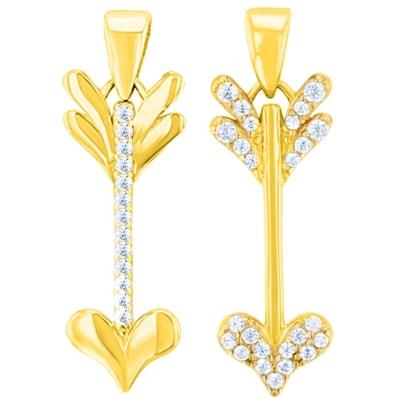 14K Yellow Gold Reversible Love Arrow Pendant