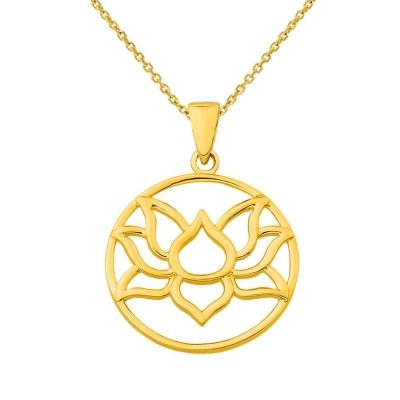 14K Yellow Gold Round Lotus Flower Pendant