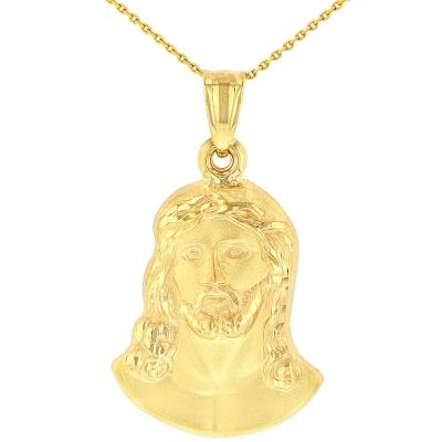 14K Yellow Gold Face of Jesus Christ Pendant