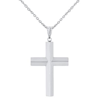 14K White Gold Plain Slender Cross Pendant