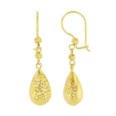 14k Yellow Gold Teardrop Dangle Drop Earring