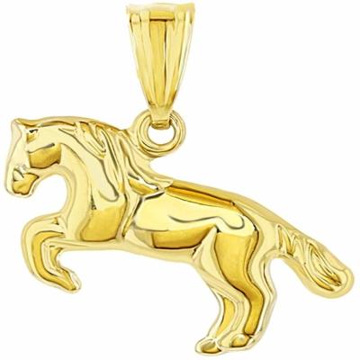 14k Yellow Gold Running Horse Charm Animal Pendant