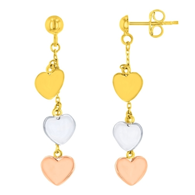 14K Tri-Color Gold Three Hearts Dangling Earrings