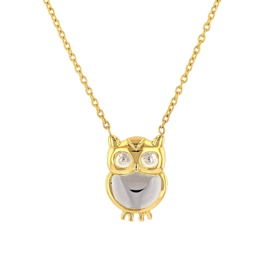 14k yellow gold owl charm pendant
