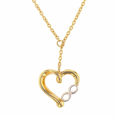 14K Yellow Gold Simple Heart with Infinity pendant