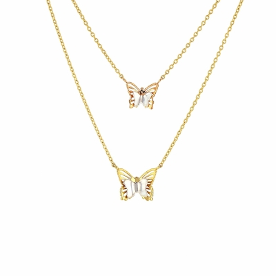 14K Tri-Color Gold Double Butterfly Necklace