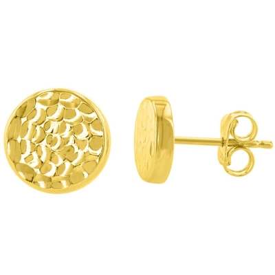 14K Yellow Gold Hammered Circle Stud