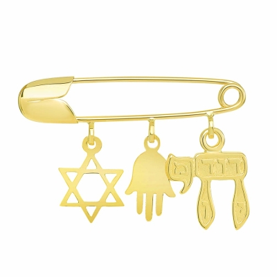 14k gold jewish symbol safety pin